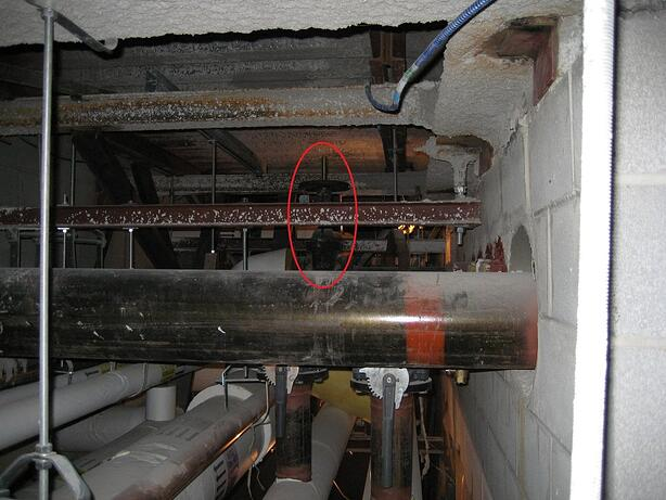 "An isolation valve on an 8"" steam line serving a large building, 14 feet off the ground."