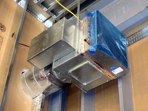 A VAV box during installation