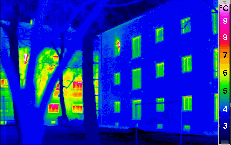 Thermogram of a Passivhaus building, with trad...