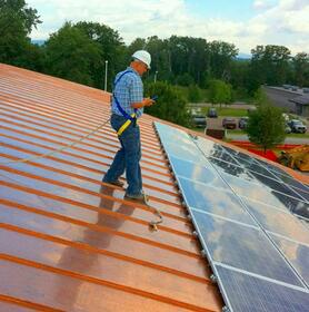 Commissioning rooftop solar panels.