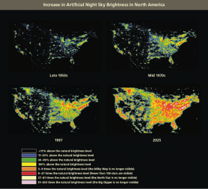 Map showing increse in Artificial Night Sky Brightness in North America