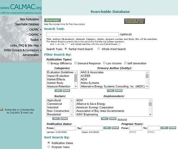 emv resources: CALMAC database screenshot