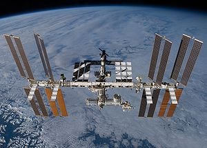 English: The International Space Station as se...