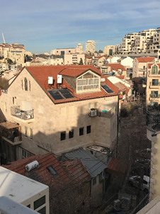 Solar hot water heaters on residential buildings in Jerusalem