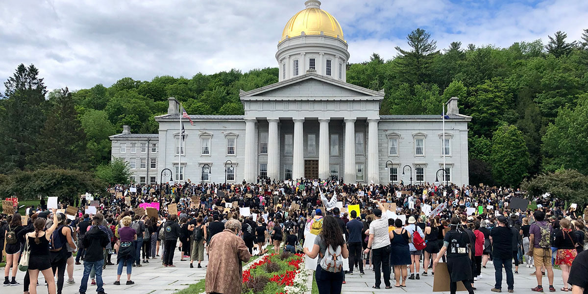Back Lives Matter protest at the Vermont Statehouse