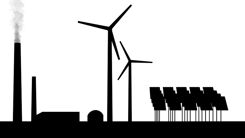 power plants, wind, solar